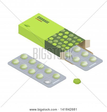 Cabbage Pills In Pack. Vegetarian Vitamins. Diet Tablets. Natural Products For Health In Form Of Gre