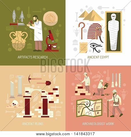 Color flat composition 2x2 depicting archeology concept artifacts research ancient egypt ruins vector illustration