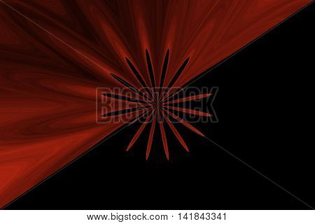 Illustration of an abstract red flower in the middle