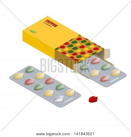 Pepper Pill Pack. Vegetarian Vitamins. Tablets In Pack. Natural Products For Health In Form Of Bell