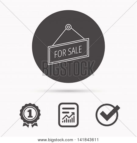 For sale icon. Advertising banner tag sign. Report document, winner award and tick. Round circle button with icon. Vector