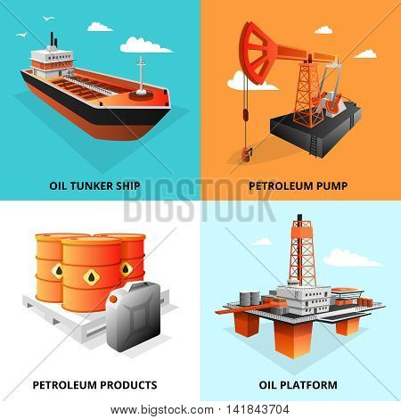 Petroleum industry concept 4 isometric icons square with extraction platform and oil transportation tanker isolated vector illustration