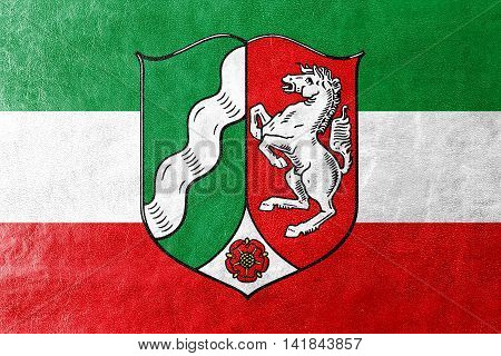 Flag Of North Rhine-westphalia With Coat Of Arms, Germany, Painted On Leather Texture