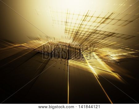 Abstract background element. Fractal graphics series. Three-dimensional composition of intersecting grids. Information technology concept. Yellow gold and black colors.
