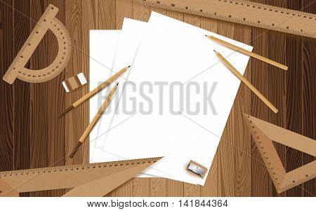 Three white paper with pencil, ruler, eraser and sharpener on lath boards. Wooden texture background.