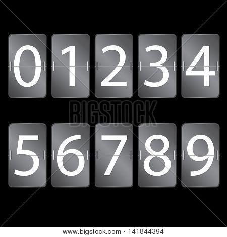 Numeric scoreboard set. Number set on black background.