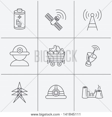 Worker, minerals and engineering helm icons. GPS satellite, electricity station and factory linear signs. Telecommunication, battery icons. Linear icons on white background. Vector