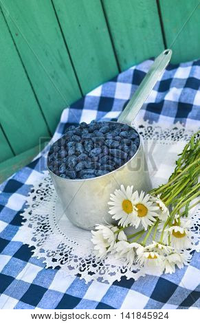 Vertical still life with honeysuckle berries in old ladle and daisy flowers on checked tablecloth