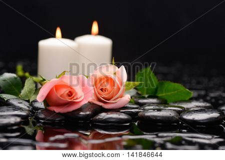 Still life with beautiful rose with candle and therapy stones
