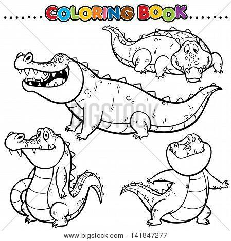 Vector Cartoon Animals Coloring Book - Crocodile