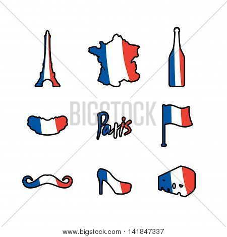Paris Icons Set. Traditional French National Symbols. Eiffel Tower And Croissant. French Flag And Ma
