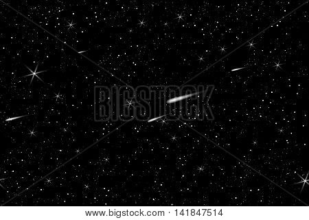 Cosmic space sky with stars vector background. Night starry sky pattern