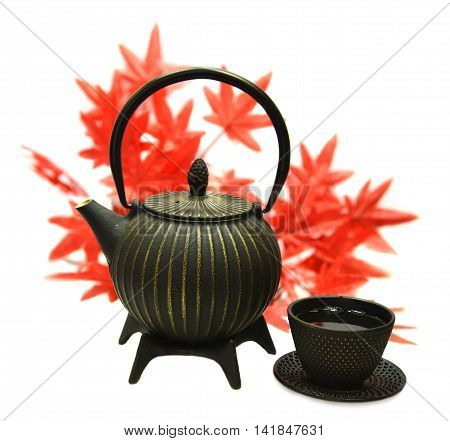 Old metal tea pot and cup of green tea against background of maple leaves, isolated objects