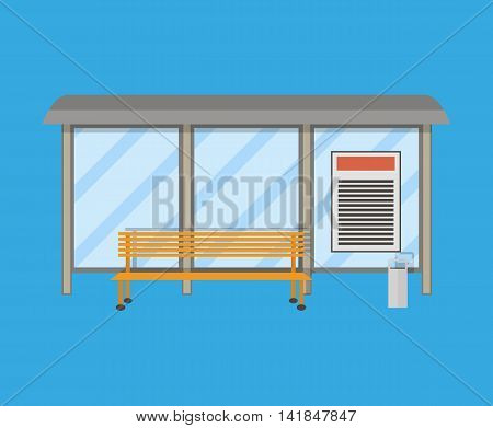 Empty Bus Stop with bench and trash receptacle. vector illustration in flat style on blue background