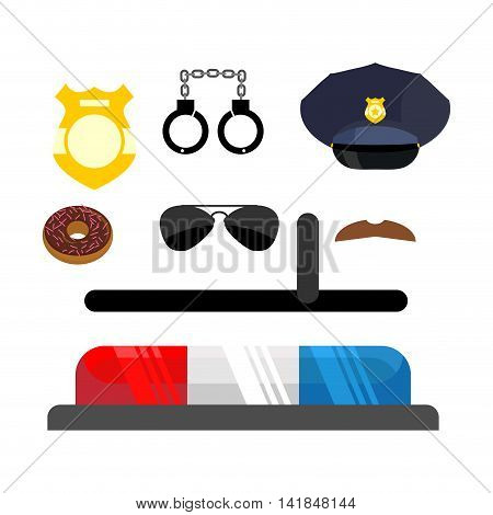 Police Icons Set. Symbols Policeman. Cop Accessories In Flat Style. Warning Light For Police Car. Ha