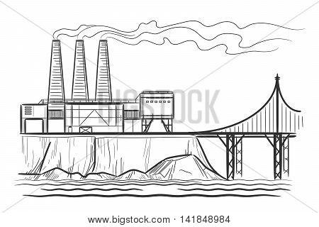 Factory industrial landscape with bridge engraving vector illustration
