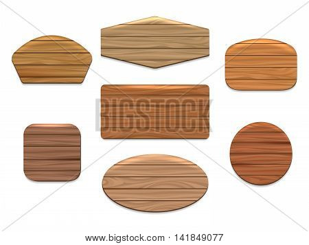 Vector wood signs or wooden boards on white background
