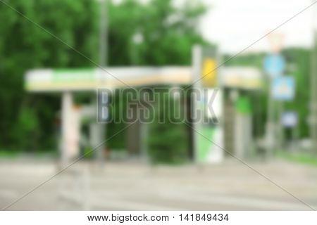 Modern petrol station blurred