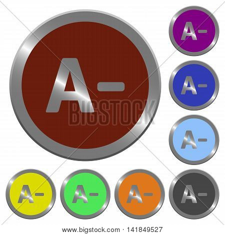 Set of color glossy coin-like decrease font size buttons.