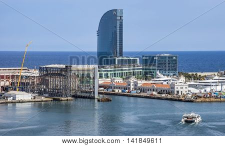 BARCELONA SPAIN - JULY 4 2016: Aerial view of Port Vell in Barcelona Spain. It is the old harbor of Barcelona with an area of sports boats dock and a shopping area.