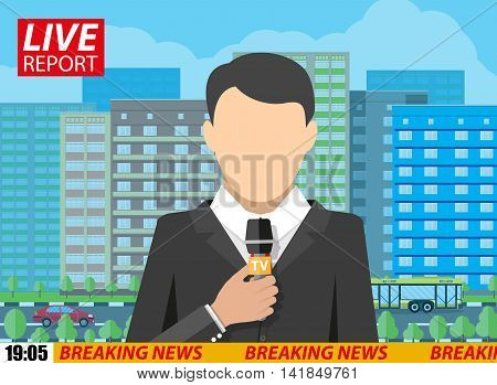 News reporter men with microphone on street with roads, buildings, car and trees. breaking news. television. press. vector illustration in flat style