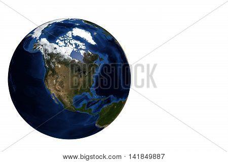 Whole earth globe view focus North America