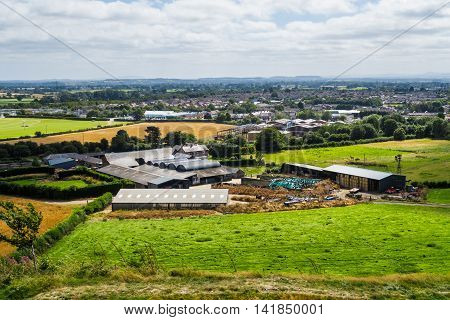 OSWESTRY ENGLAND - AUGUST 7: View of Oswestry (from the hill fort). Oldport farm in the foreground. On 7th August 2016. In Oswestry Shropshire England.