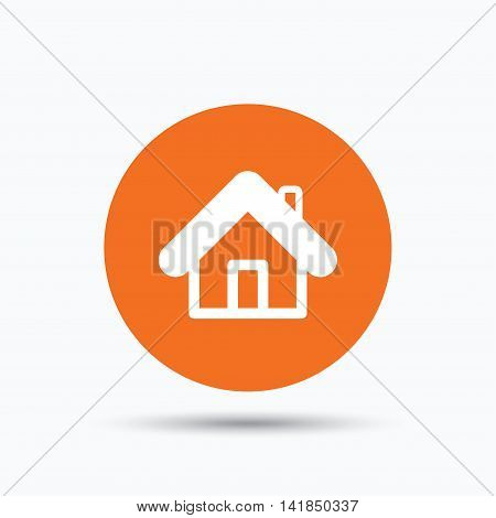 Home icon. House building symbol. Real estate construction. Orange circle button with flat web icon. Vector