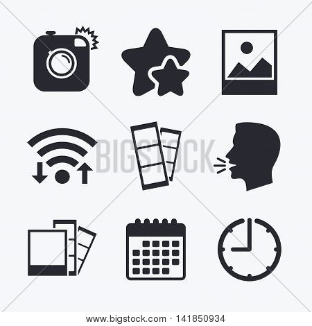 Hipster photo camera icon. Flash light symbol. Photo booth strips sign. Landscape photo frame. Wifi internet, favorite stars, calendar and clock. Talking head. Vector