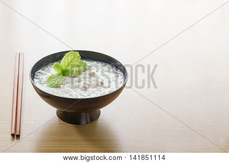 Traditional Chinese  Rice Gruel In Bowl