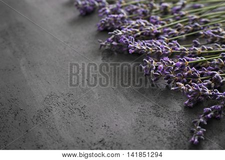 Bunch of lavender on grey table