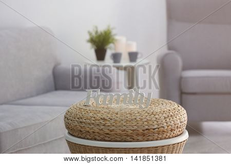 Word Family on a table in living room