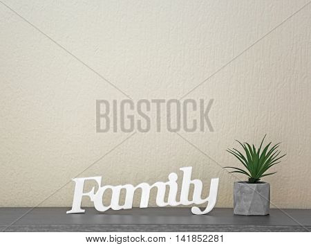 Word Family on color wall background