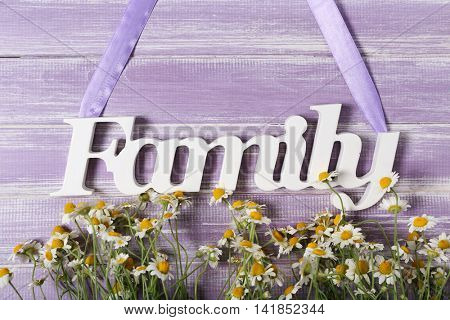 Word Family with flowers on color background