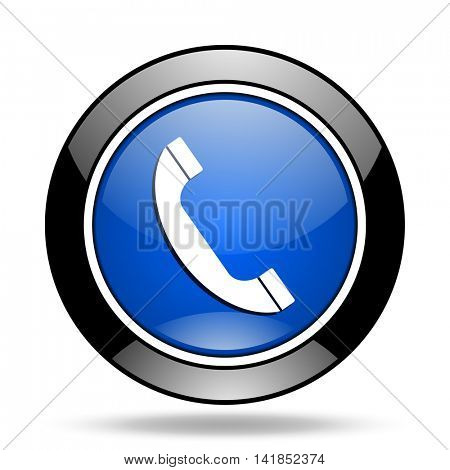 phone blue glossy icon