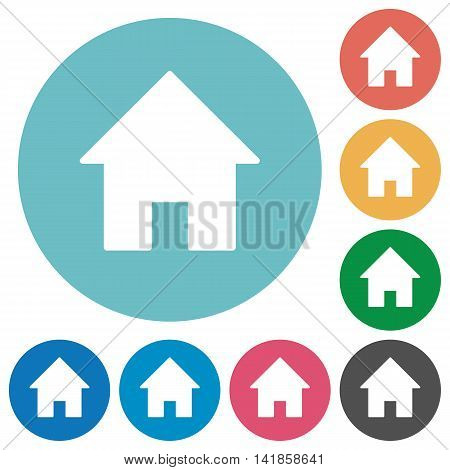 Flat home icon set on round color background.