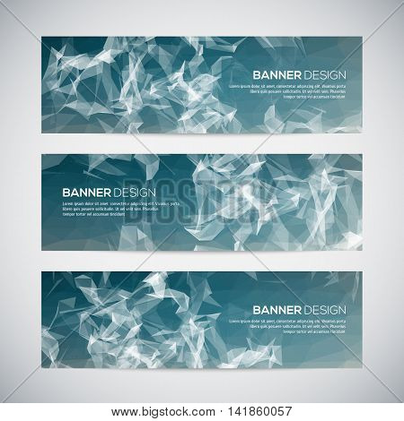 Banners with abstract blue geometric triangulated pattern and background. Vector illustration.