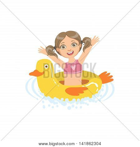 Girl In Water With Toy Duck Float Simple Design Illustration In Cute Fun Cartoon Style Isolated On White Background
