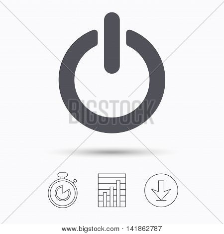 On, off power icon. Energy switch symbol. Stopwatch, chart graph and download arrow. Linear icons on white background. Vector