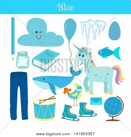 Blue. Learn The Color. Education Set. Illustration Of Primary Colors