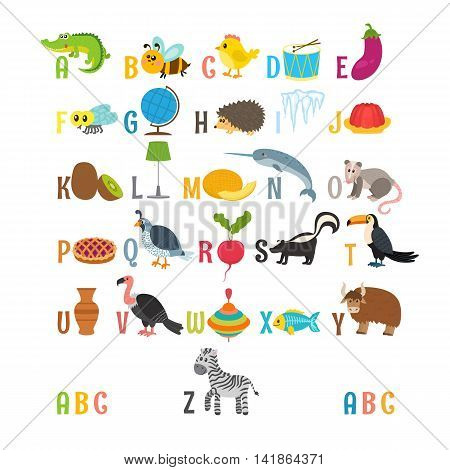 Children Alphabet With Cute Cartoon Animals And Other Funny Elements. Learn To Read. Abc