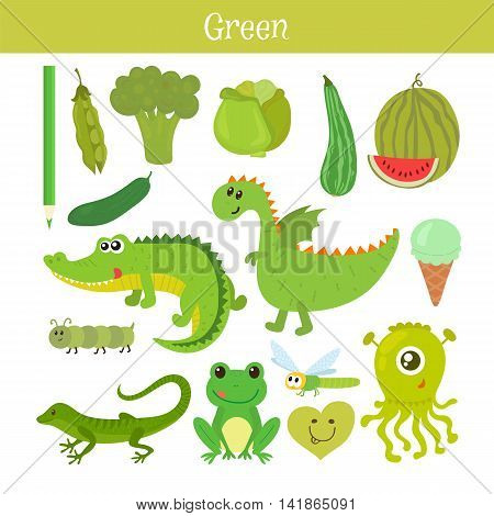 Green. Learn The Color. Education Set. Illustration Of Primary Colors