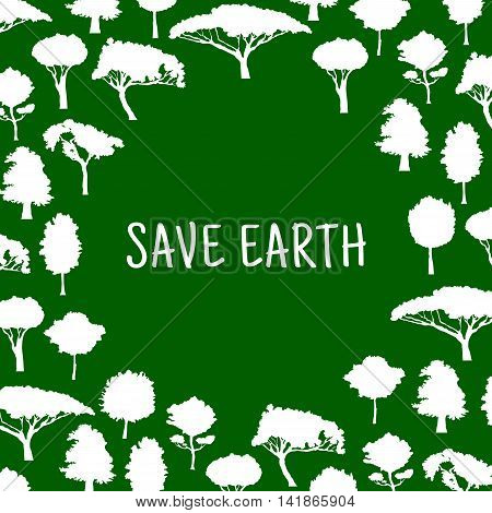 Nature conservation and protection of environment symbol for eco design with white silhouettes of trees formed as a circle with caption Save Nature in the center.