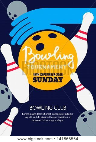 Vector Bowling Tournament Banner, Poster Or Flyer Design Template.