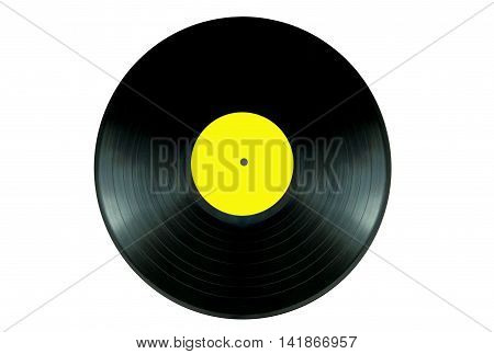 Vinyl record lp over a white background
