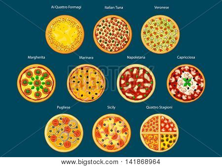Different types of pizza flat icon with marinara, margherita, napoletana, veronese, sicilian, pugliese, capricciosa, italian tuna, quatre fromage and four seasons