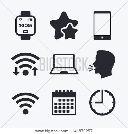 Notebook and smartphone icons. Smart watch symbol. Wi-fi and battery energy signs. Wireless Network symbol. Mobile devices. Wifi internet, favorite stars, calendar and clock. Talking head. Vector