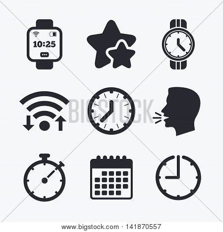 Smart watch icons. Mechanical clock time, Stopwatch timer symbols. Wrist digital watch sign. Wifi internet, favorite stars, calendar and clock. Talking head. Vector