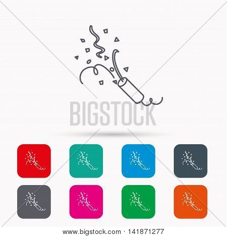 Shooting slapstick icon. Celebration sign. Linear icons in squares on white background. Flat web symbols. Vector