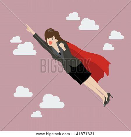 Business woman super hero. Business Concept Vector Illustration